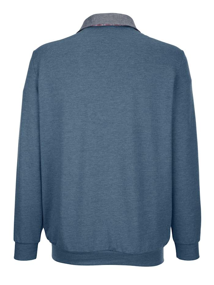 Sweatshirt met geruit beleg in contrastkleur