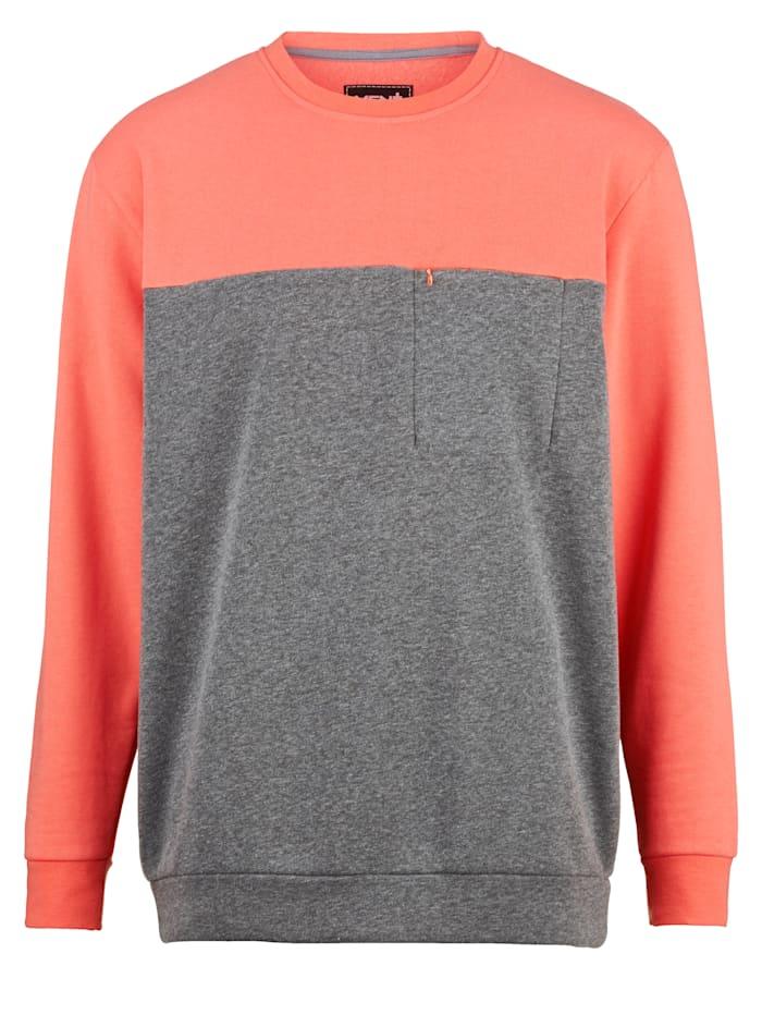 Men Plus Sweatshirt med bröstficka, Grå/Korall
