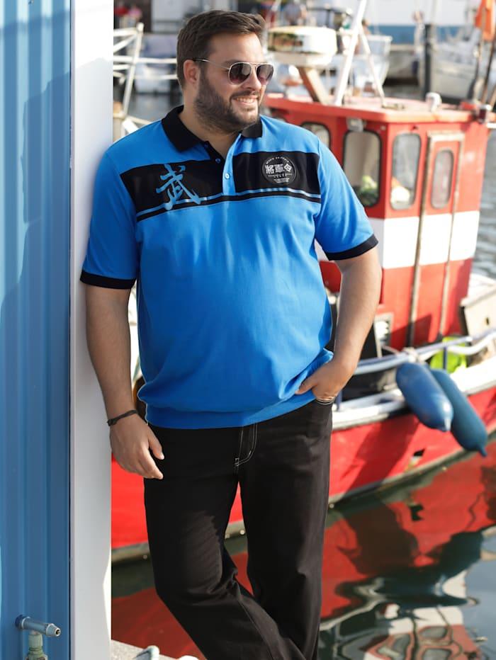 Men Plus Poloshirt Spezialschnitt, Blau/Schwarz