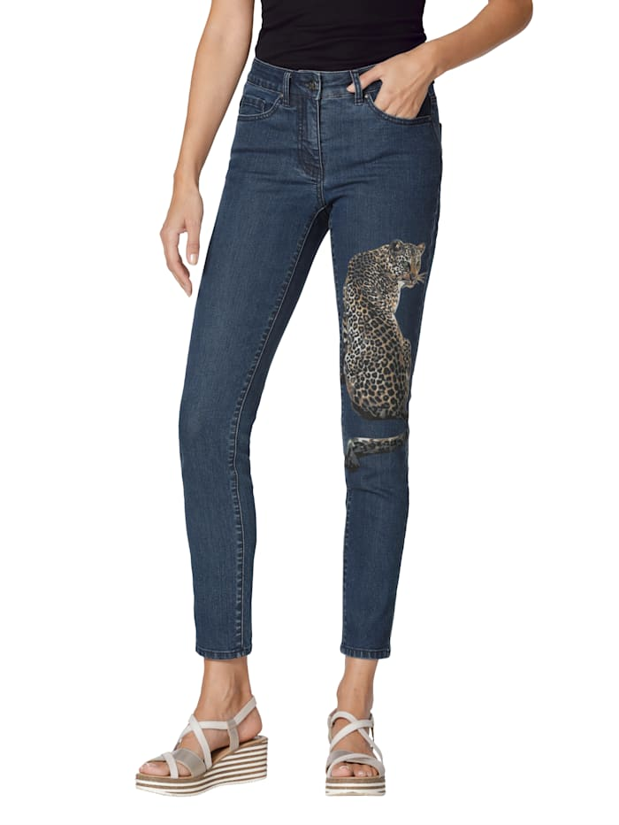 AMY VERMONT Jeans met print, Blue bleached
