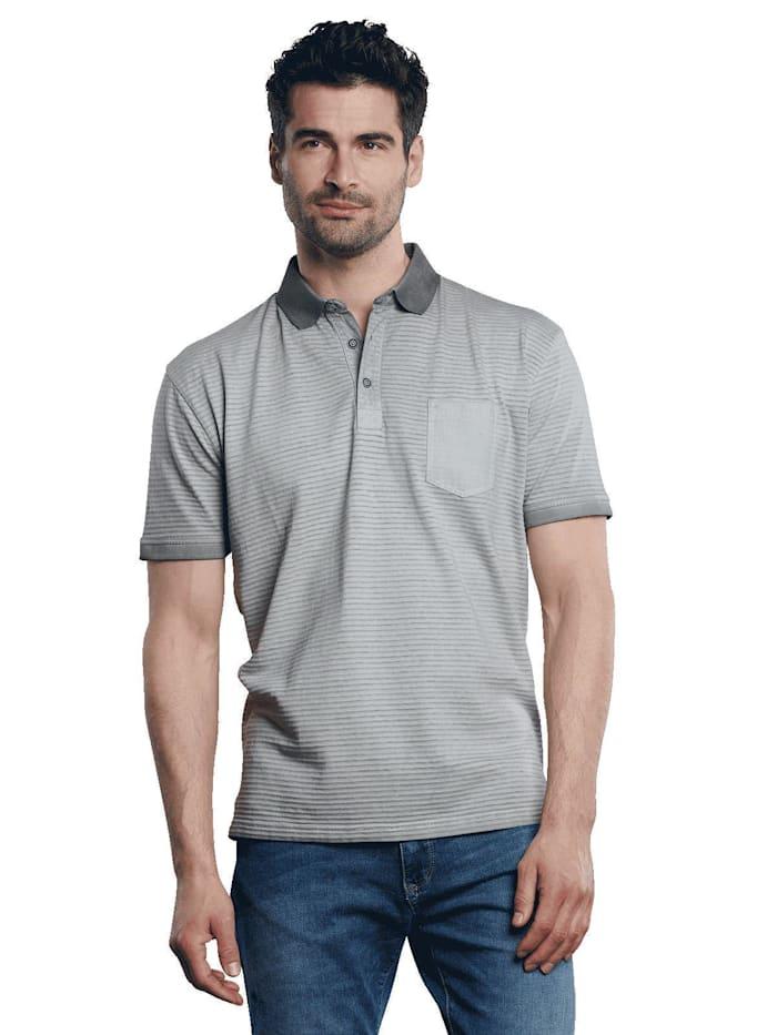 Engbers Poloshirt gestreift, Kieselgrau