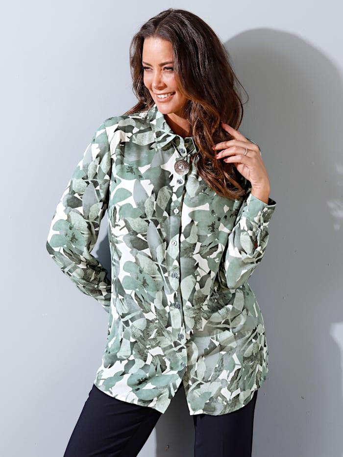 MIAMODA Bluse med grafisk bladtrykk, Grønn/Hvit