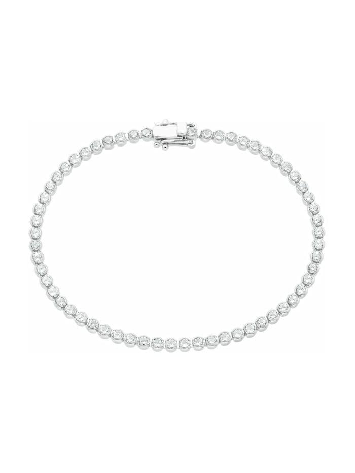 s.Oliver Tennisarmband für Damen, Sterling Silber 925, Zirkonia, Silber