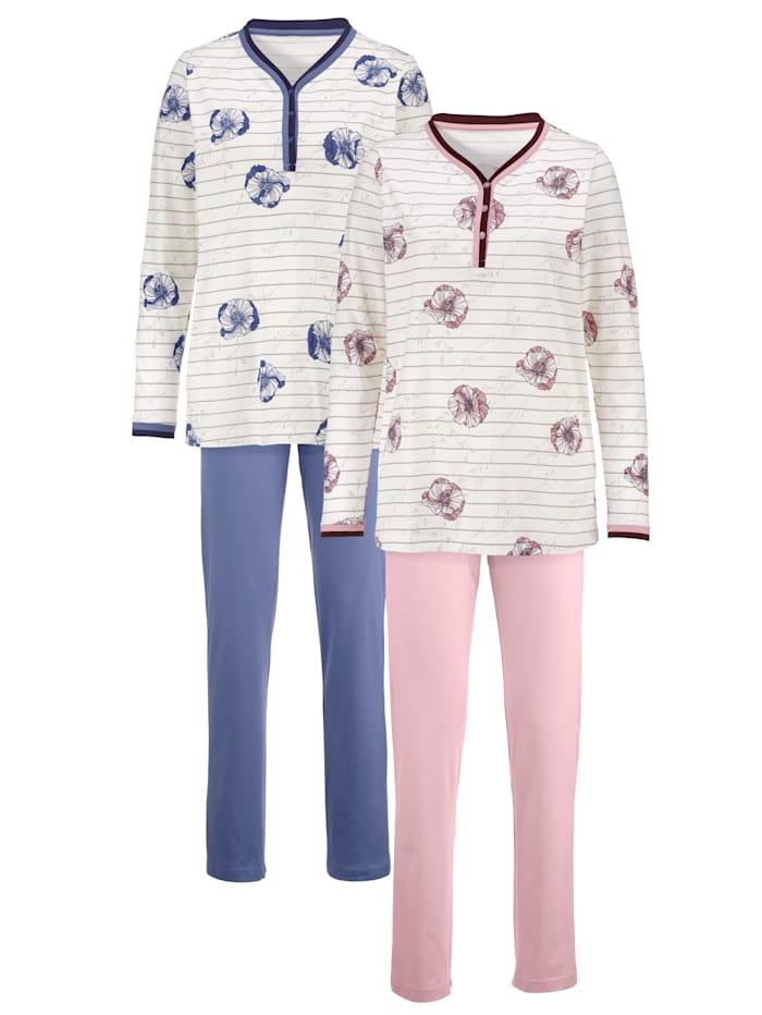 Harmony Pyjamas à passepoils bicolores, Rose clair/Bleu fumée
