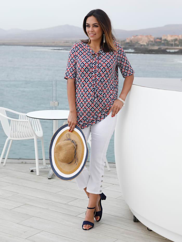 MIAMODA Shirt mit Schluppe, Marineblau/Rot/Weiß