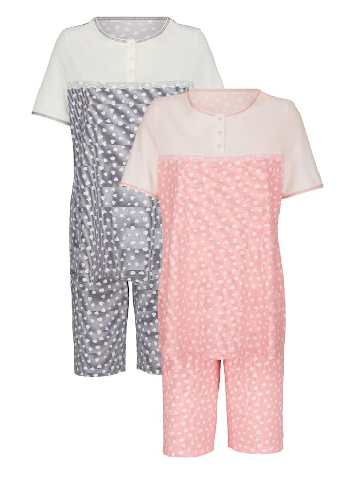 Blue Moon Pyjashorts en coton biologique, Corail/Mauve/Écru