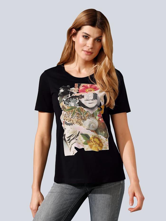 MARGITTES Shirt mit Motiv und Strasssteinchen im Vorderteil, Schwarz