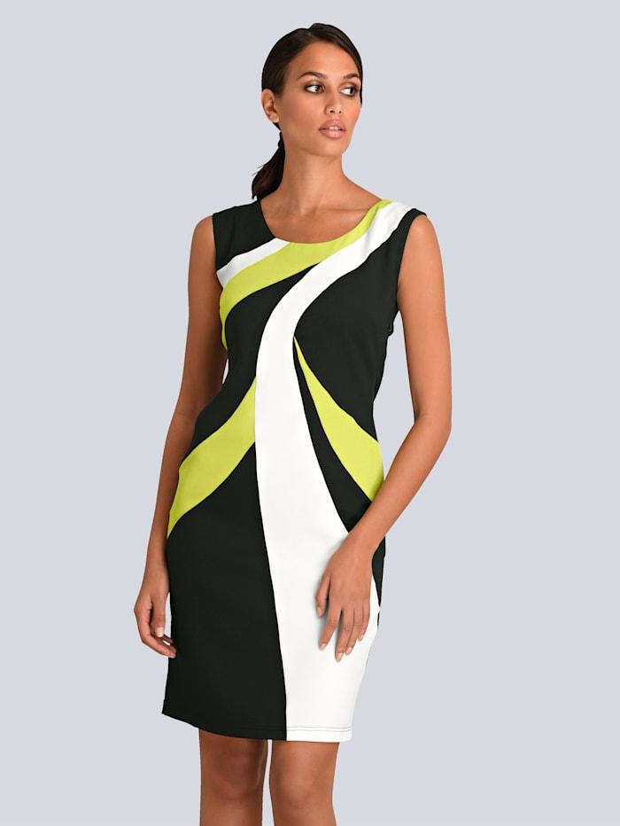Alba Moda Kleid im Colour Blocking allover, Schwarz/Weiß/Limettengrün
