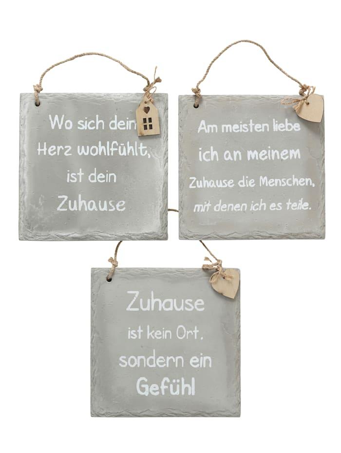 Boltze Schilder-Set, 3-tlg., Grau