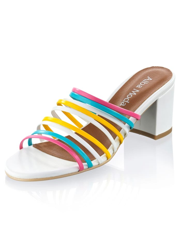 Alba Moda Muiltje met multicolor bandjes, Wit