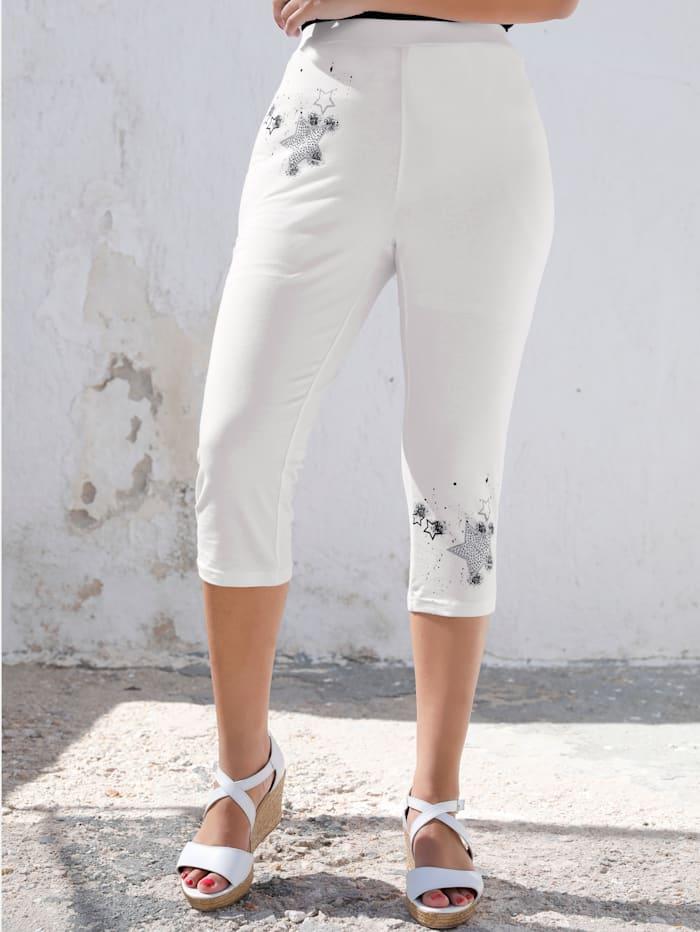 MIAMODA Capribroek van elastische jersey, Wit