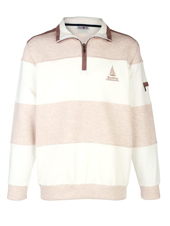 Roger Kent Sweatshirt mit Veloursapplikationen, Beige