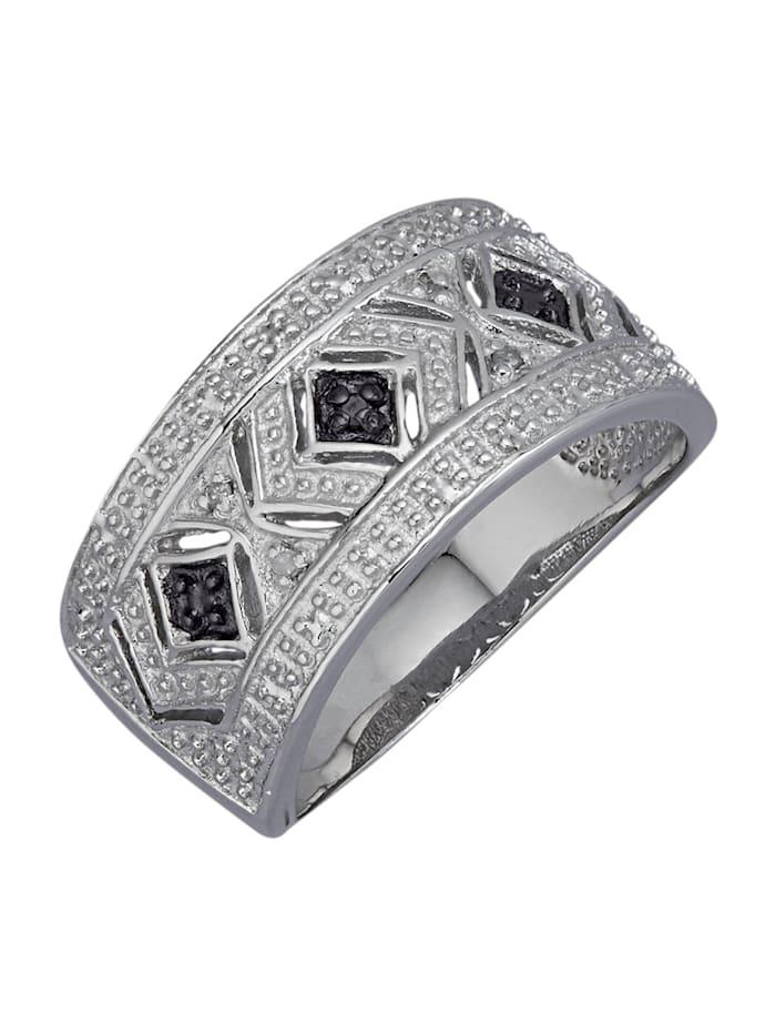 Damenring mit Diamanten, Silberfarben