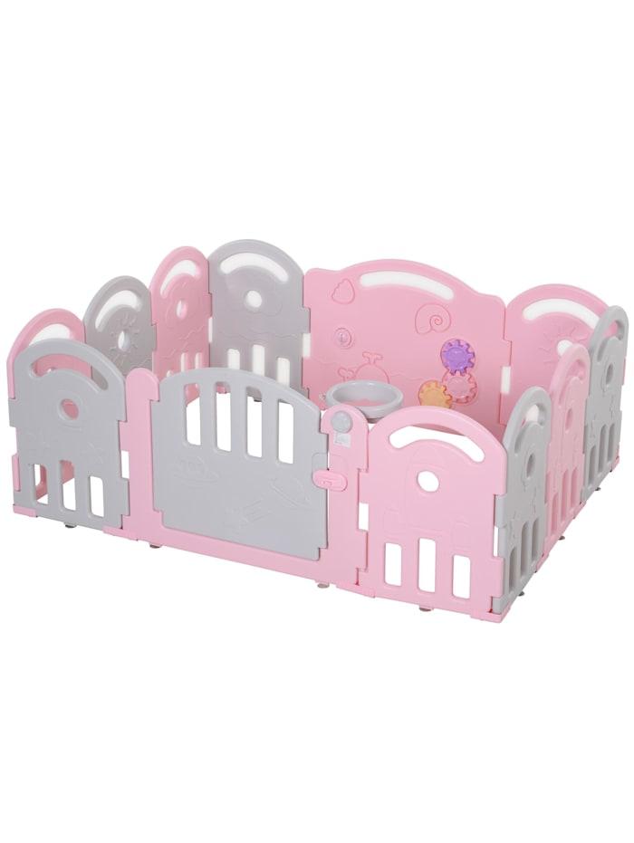 HOMCOM Baby Schutzgitter mit Ballkorb und 3 Zahnräder, rosa