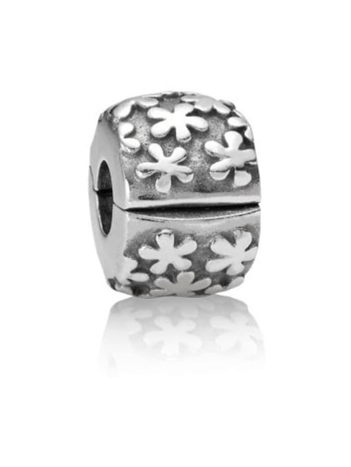 Pandora Clip-Charm -Blumen-, Silberfarben