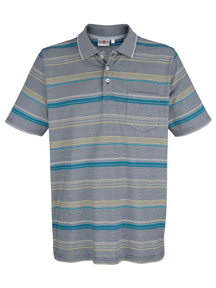 Roger Kent Poloshirt met ingebreid streepdessin, Blauw/Geel/Groen