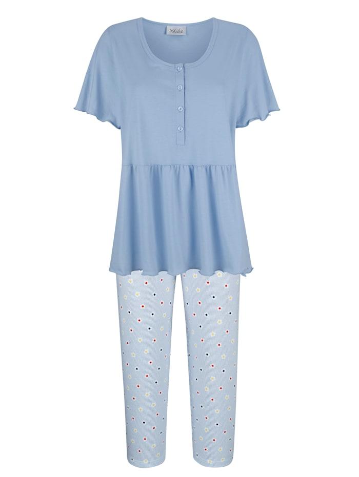 MONA Schlafanzug mit romantischen Volants, Hellblau/Weiß/Marineblau