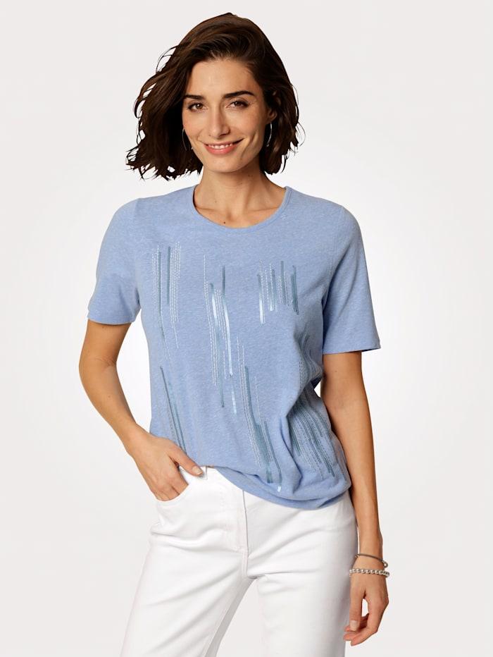 MONA Shirt mit platzierter Stickerei in Streifenoptik, Hellblau