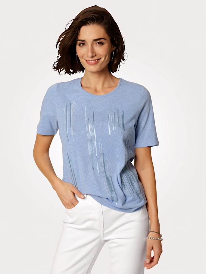 MONA T-shirt à broderie rayée placé, Bleu ciel