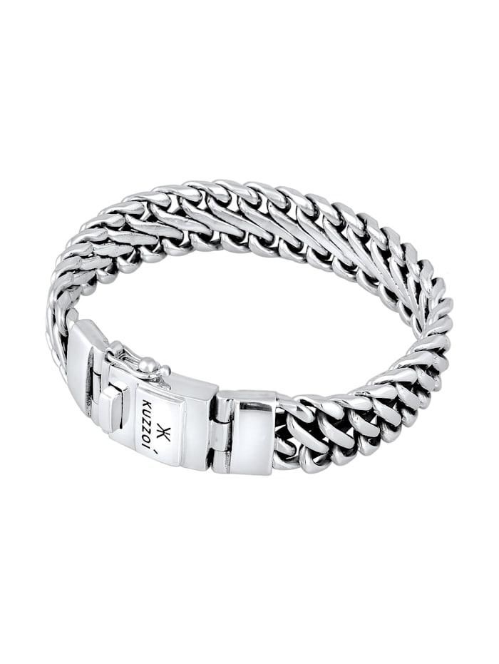 Armband Herren Panzer Trend Fein Steckschließe 925 Silber