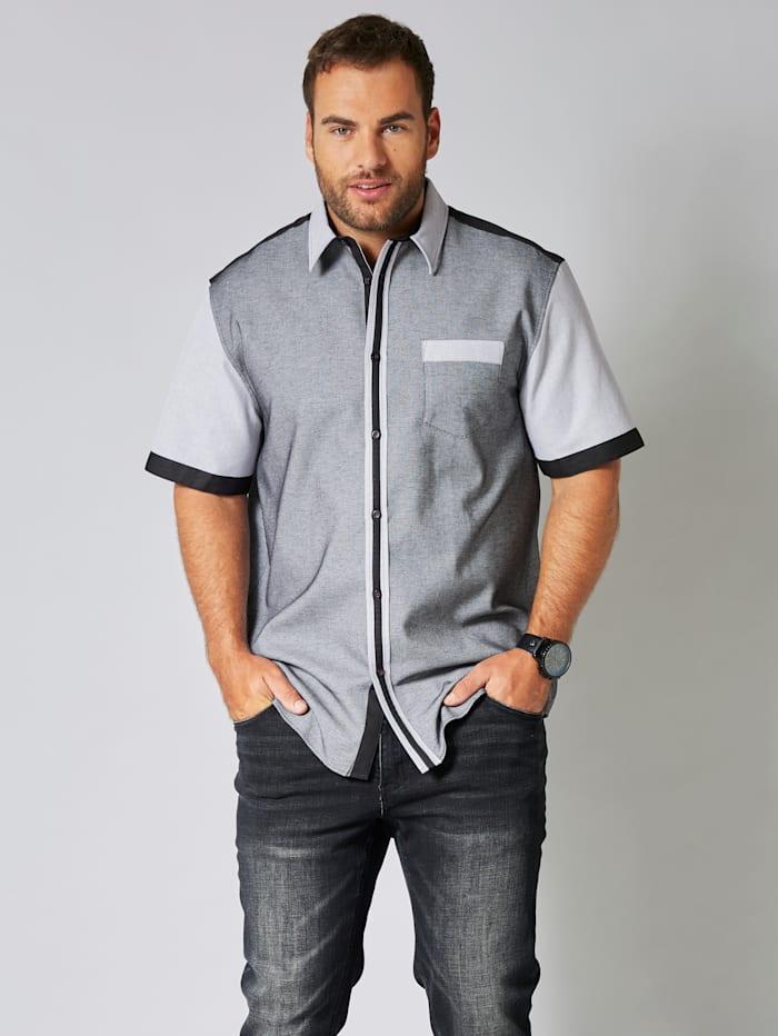 Men Plus Kurzarmhemd aus reiner Baumwolle, Schwarz/Weiß