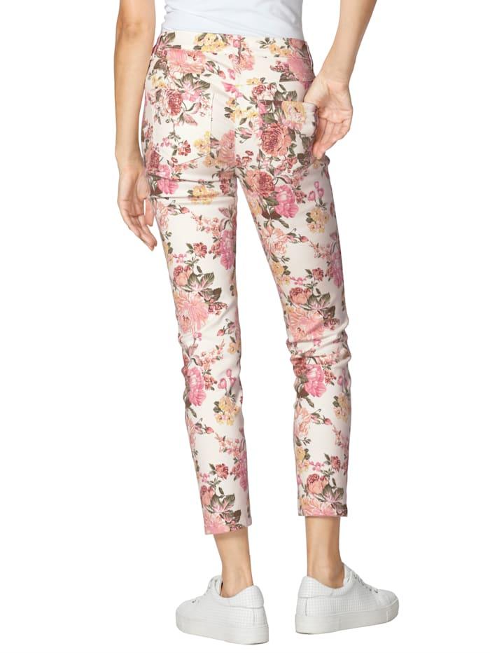 Jeans mit floralem Muster allover