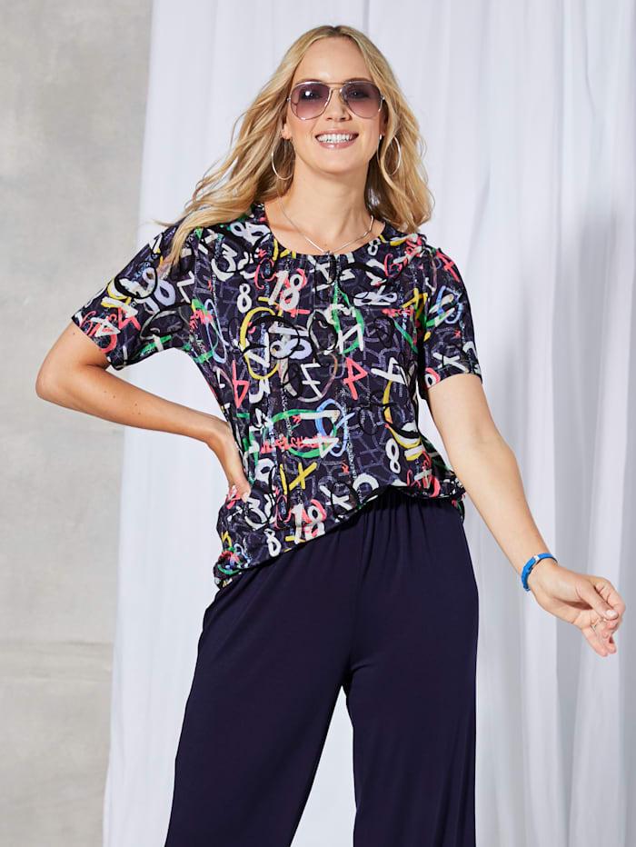 MIAMODA T-shirt à imprimé mode, Multicolore