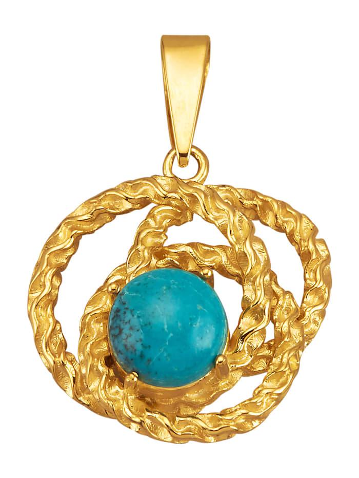 Pendentif avec 1 turquoise (trait.), Bleu