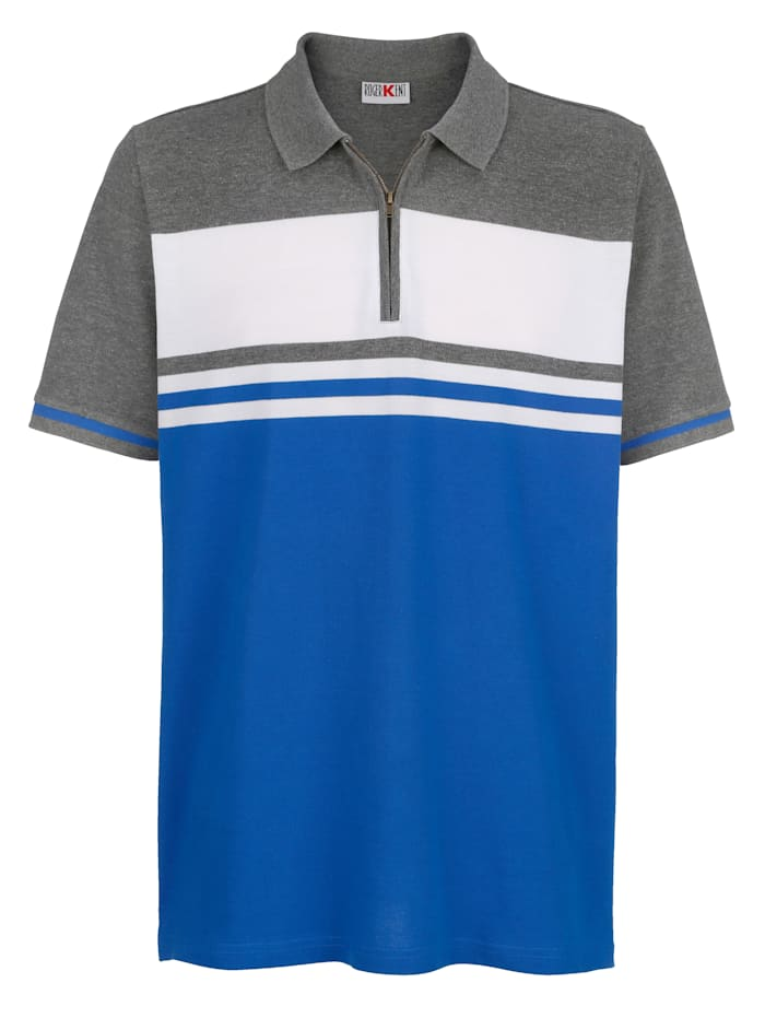 Roger Kent Poloshirt mit Kontrastverarbeitung, Grau/Royalblau/Ecru