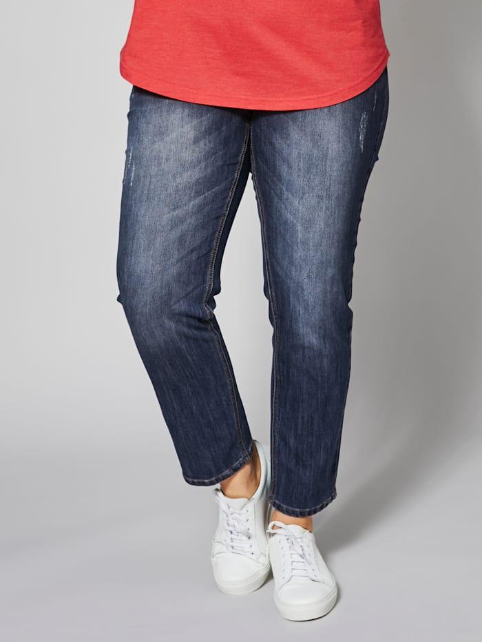 Janet & Joyce Slim Fit Jeans knöchellang, Dunkelblau