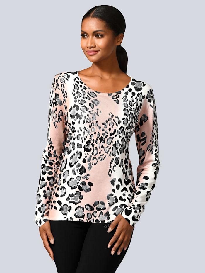 Alba Moda Pullover mit Animal-Print, Rosé/Grau