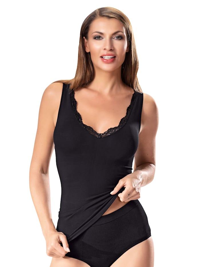 Janastyle Shaping-Unterhemd mit einer zarten Spitze, Schwarz