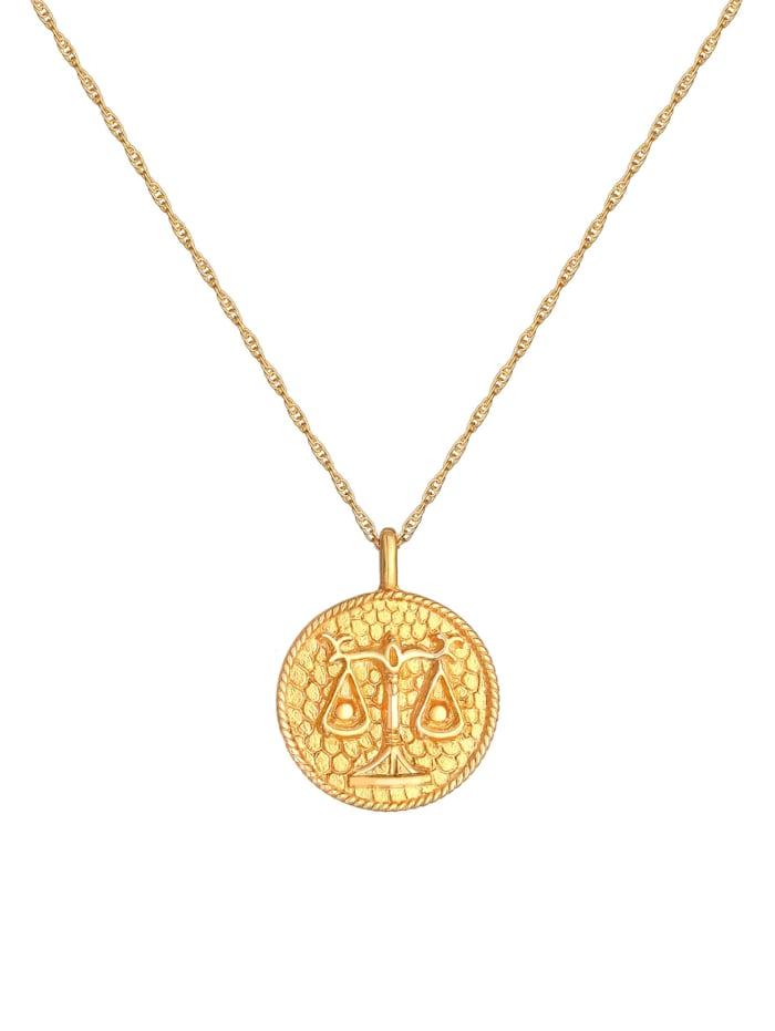 Halskette Sternzeichen Waage Münze 925 Silber