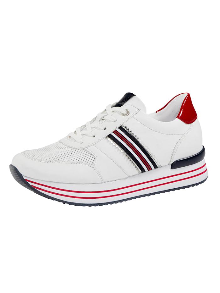 Remonte Sneaker met perforaties in het blad, Wit