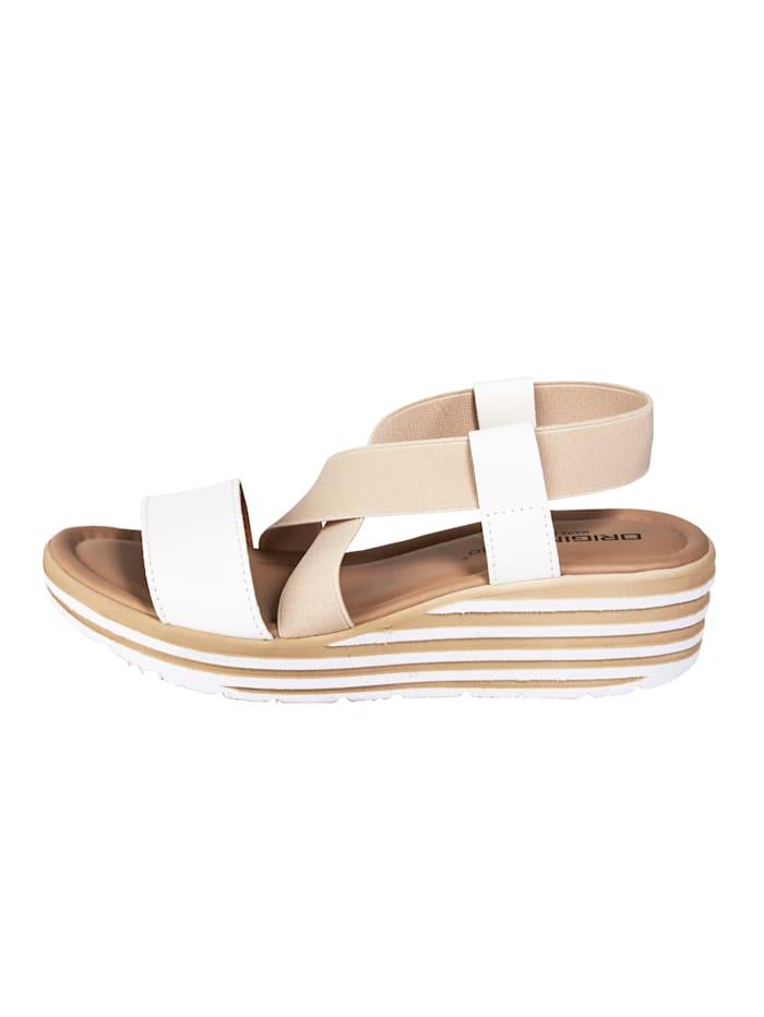 Sandales compensées avec brides croisées extensibles