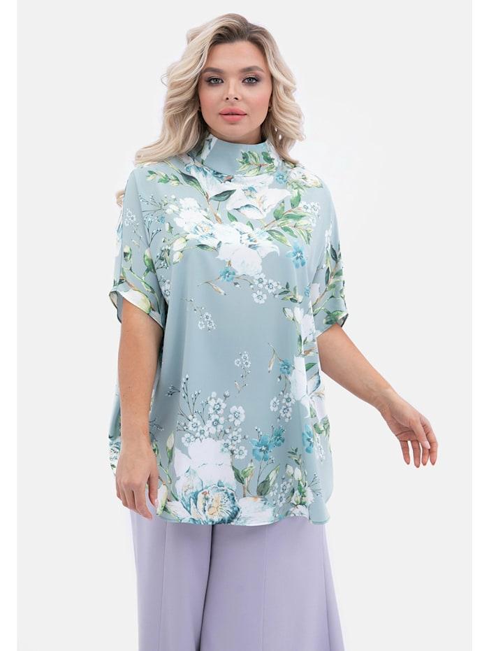 Kurzarmbluse Alltägliche Bluse mit Blumenprint und Stehkragen