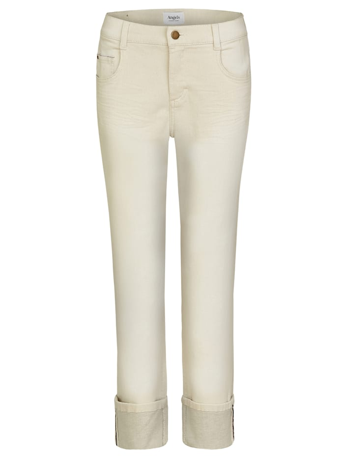 Angels Jeans 'Straight TU' mit breitem Umschlag, ecru used crinkle