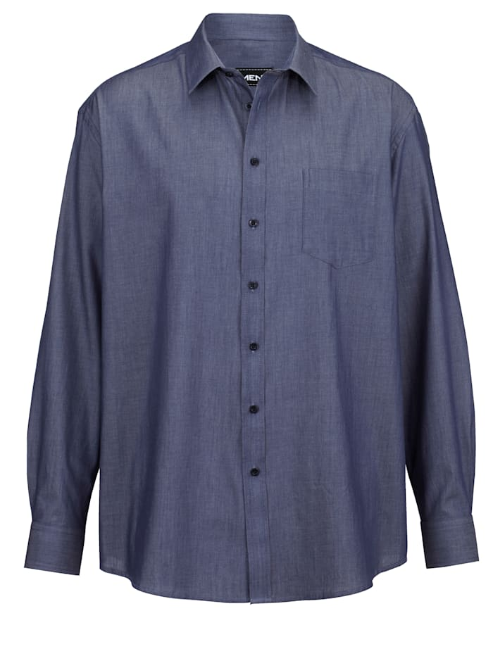 Men Plus Hemd aus reiner Baumwolle, Jeansblau