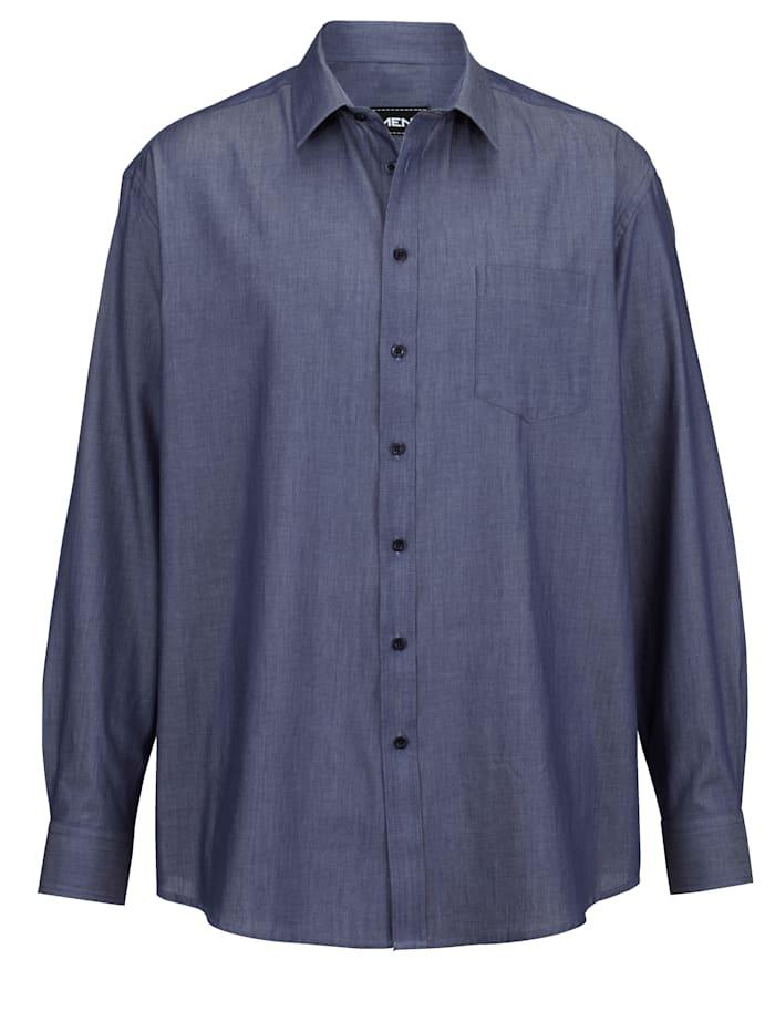 Men Plus Skjorta av 100% bomull, Jeansblå