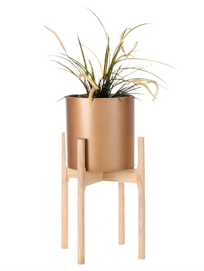 IMPRESSIONEN living Pflanztopf mit Holzgestell, goldfarben/naturfarben
