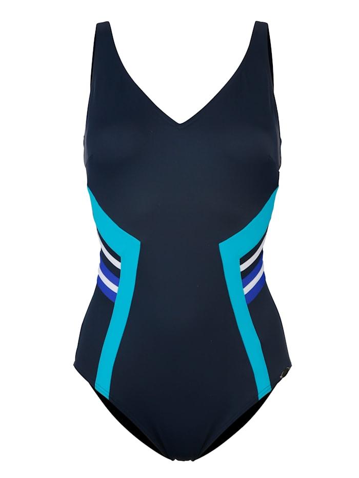Sunflair Badeanzug mit figurschmeichelndem Druckeinsatz, blau