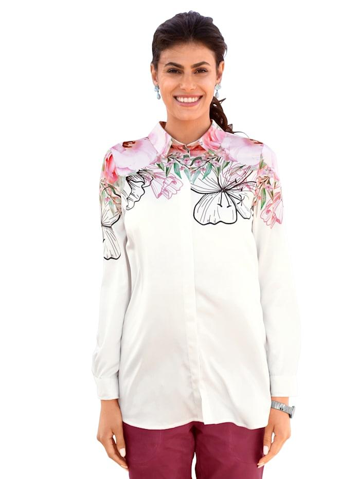 AMY VERMONT Bluse mit floralem Druck, Weiß/Rosé