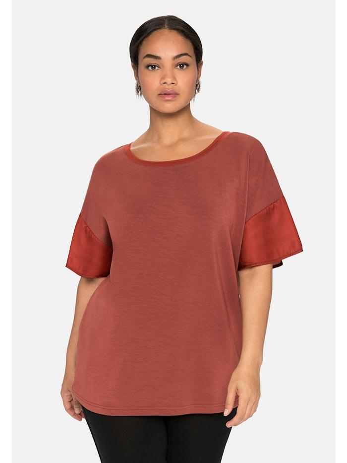 Sheego Shirt mit Webeinsatz in den Ärmeln, marone