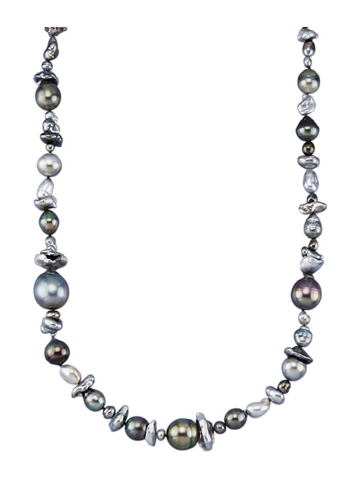 Diemer Perle Perlen-Collier in Gelbgold 585, Grau