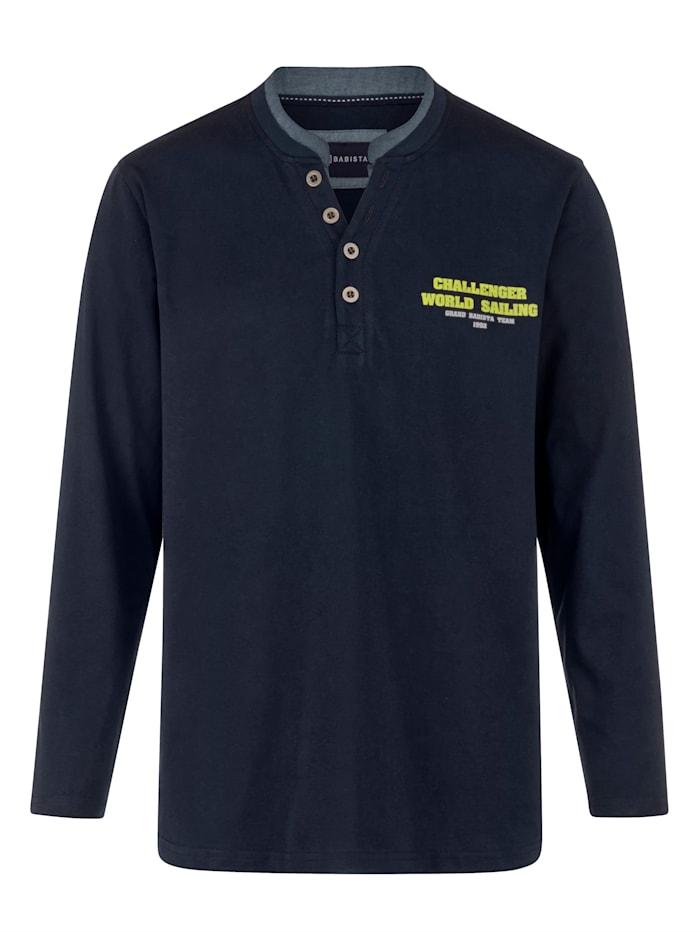 BABISTA Henley tričko s kontrastním stojatým límcem, Námořnická