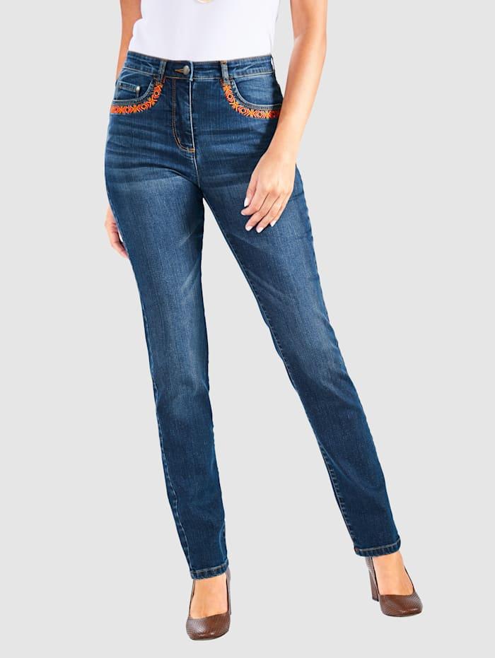 Paola Jeans mit Stickerei, Blue stone