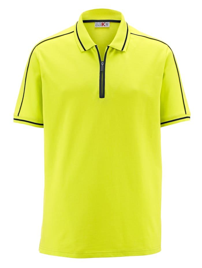 Roger Kent Poloshirt mit Kontrastverarbeitung, Limettengrün