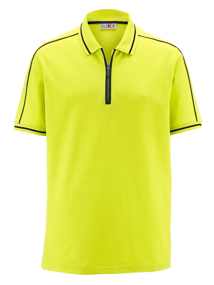Roger Kent Poloshirt met contrastkleurige details, Limoengroen