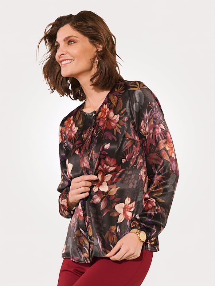 MONA Bluse mit floralem Druck, Schwarz/Brombeere/Pink