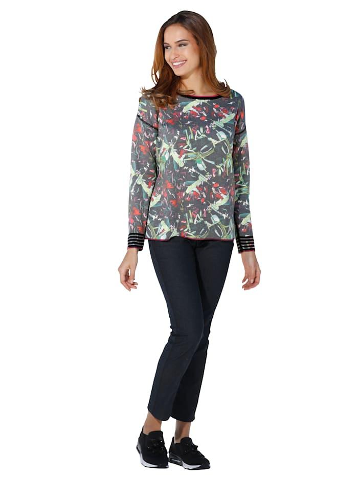 Pullover mit Punkte- und grafischem Muster